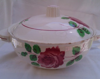 Vintage Vegetable Tureen, French Serving Dish, Shabby Red Roses