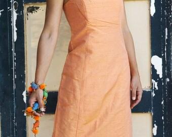 Vintage orage silk taffeta strapless midi dress.size S