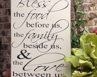 Large Wood Sign, Bless the food before us, Prayer Sign, Wood Sign,Wood Sign Saying, Family Wood Sign, Sign