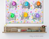 Print Canvas Cute Elephant Children Room Canvas Print Lullaby Elephants Colorful Kids Wall Art Bright Nursery Art Wall Art