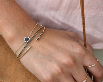 HEART BRACELET, Gold plated silver bracelet, little heart bracelet, heart chain bracelet, tiny gold heart bracelet