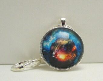Outer Space Keychain, Nebula Keychain, Sci Fi Keychain, Glass Keychain, Glass Photo Key Fob, Key Chain, Purse Fob, Glass Nebula Keychain