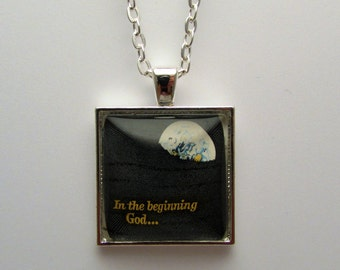 In The Beginning Stamp Pendant, Cancelled Stamp Necklace, Upcycled Postage Stamp Jewelry, Glass Stamp Necklace, Wearable Art