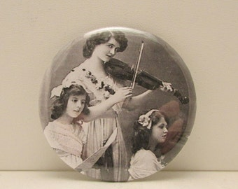 Edwardian Girl Pocket Mirror, Purse Mirror, Cosmetic Mirror, Musical Trio Pocket Mirror, Stocking Stuffer, Musical Girls, Makeup Accessory