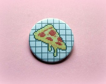 Pixel pizza grid - pinback button or magnet 1.5 Inch