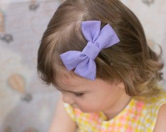 Purple Bow  - Purple Hair Bow - Purple Fabric Hair Bow - Purple Bow Hair Clip - Fabric Hair Bow - Purple Bow Hair Clip - Nylon Headband