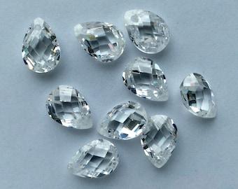 10x7 Crystal CZ briolette - 9 pcs