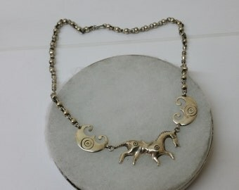 Chain silver 800 horse necklace old SK988
