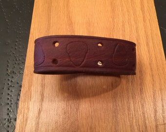 Upcycled Leather Bracelet  Custom Chunky with Acorn Stamping