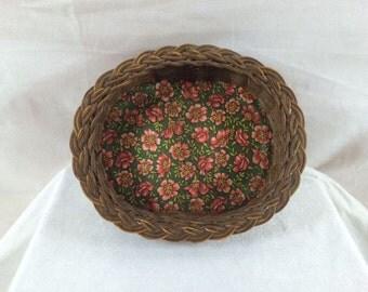 Wicker Basket Vintage Wicker Basket With Floral Print Beautiful Flower Basket Wicker Basket