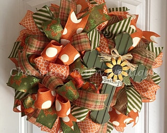 Fall Wreath, Cross Wreath, Blessings Wreath, Sunflower Wreath, Autumn Wreath, Fall Colors, Blessings Cross, Fall Decor, Autumn Decor, Cross