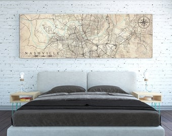 NASHVILLE TN Canvas Print Tennessee TN Vintage map Nashville City Horizontal Wall Art Vintage map Panoramic Poster Housewarming Gift