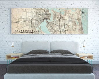 JACKSONVILLE FL Canvas Print Florida FL Jacksonville Fl Vintage map City Map Horizontal Wall Art Vintage map Panoramic map Birthday Gift