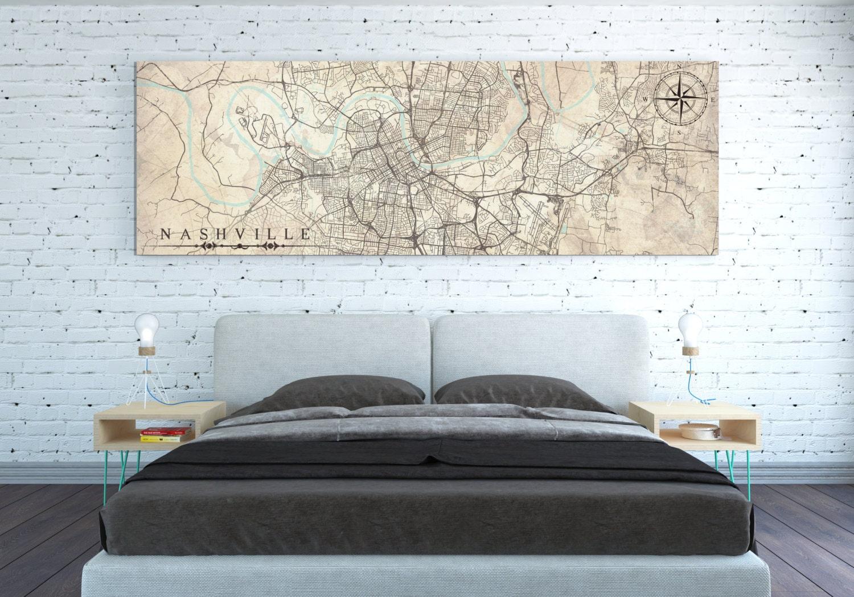 Nashville Tn Canvas Print Tennessee Tn Vintage Map
