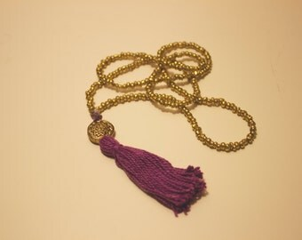 Purple & Gold Amethyst Boho Tassel Necklace