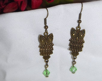 Antique Brass Owl Earrings ** Peridot Glass Crystal Dangle ** Beauty in Nature Series ** Great Gift ** Spring ** Summer ** Animals ** Birds