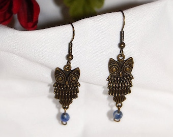Antique Brass Owl Earrings** Semi-precious gemstone Sodalite **Nature ** I Love Owls Earrings** Beauty in Nature Series**Spring * Summer