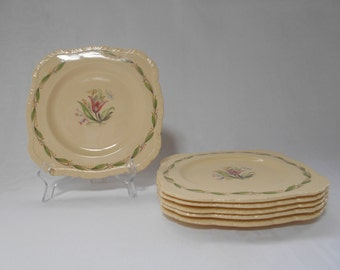Vintage Newhall Hanley Tea Plates Set of Six 1950's  #00031