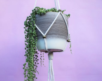 Modern Hanging Planter - Flexible Adjustable Fits All -  Thick White String