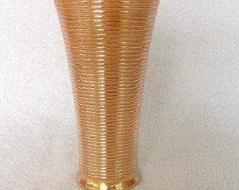 Fire King Peach Luster Lusterware Lustre Ribbed Vase