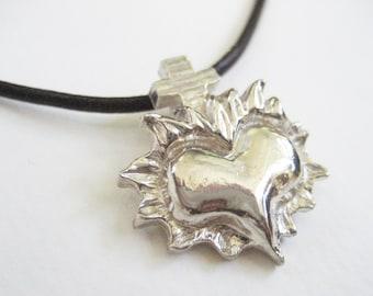 Flaming Heart, Sacred Heart, Unique Gift, Sacred Heart Necklace, Heart Necklace, Guardian Angel, Gift for her, Burning Heart, Choker