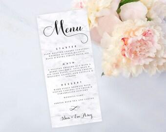 Marble Menu Card, Printable Digital Menu, Wedding Menu, Bridal Shower Menu, Print at Home