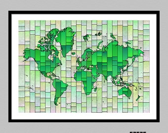 World Map Glasa | a map of the world art print | wall decor | home decor | travel print | map art | poster | several colors available