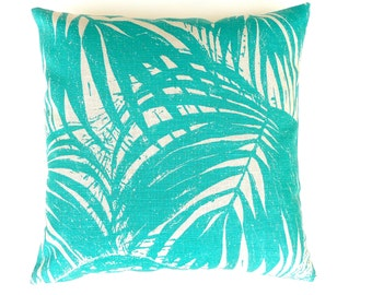 Turquoise Linen Pillow Cover. Palms Canopy Pillow. Turquoise Throw Pillow. Sunroom Pillow. Turquoise Summer Pillow. Holiday Decor. 49/49cm.