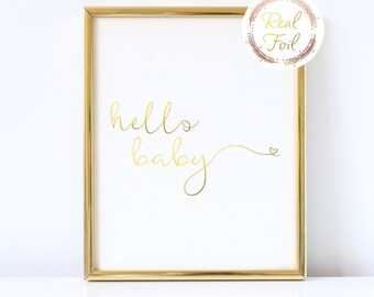 Nursery Print Gold Foil Wall Decor Nursery Above Crib Decoration Hello Baby Gender Neutral Baby Shower Gift Gold Wall Art For Baby