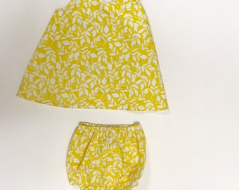 Sunny Yellow Pinafore & diaper cover for baby girls size 12 months WTSP15