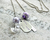 Hand Stamped Charm Necklace: Pray Fast Give