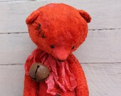 Teddy Bear. PLUSH HEART.Teddy Bear.Vintage teddy.Old teddy bear.Torture teddy bear.Artist teddy bear.OOAK teddy bear.Teddy