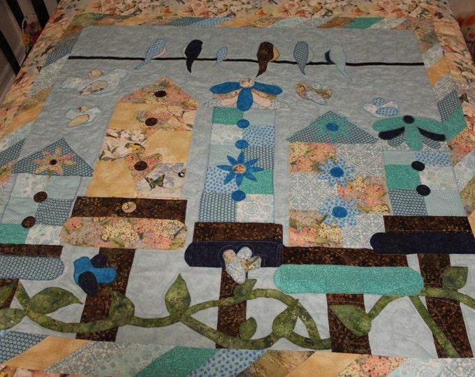 Appliqued quilt,full size quilt, queen size quilt, king size quilt, Bird quilt, quilt for bird lovers, Handmade quilt, Pieced quilt