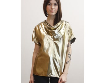 Vintage Gold Lamé Cowl Neck Blouse 70s 80s Gold Disco Evening Top M Md Medium Short Sleeve Metallic Gold Shell Deadstock