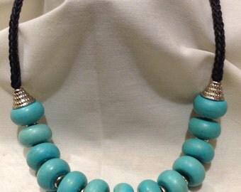 Southwest Turquoise Stones Beaded Bib Necklace, Country Western, Large Beaded, Boho  Necklace 465-118