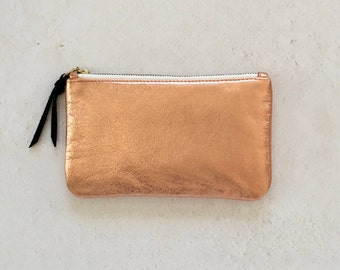 CYPRESS wallet clutch, Leather clutch, Leather wallet, Zipper clutch, Metallic  leather wallet, Metallic leather clutch , Leather pouch