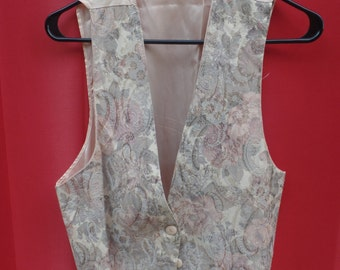 "Retro eighties Brooks Fashions peach floral vest ""one size fits most"""