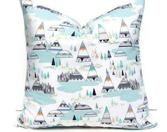 Teepee Pillow Cover, Woodland Pillow Cover, Tribal Pillow Cover, Tribal Nursery Pillow, Woodland Nursery Bedding, Mint Pillow, Mint