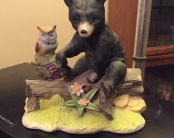 Vintage Bisque Porcelain Black Bear and Owl Figurine