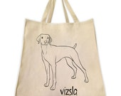 Vizsla Dog Outline Design Tote Bag - Extra Large Cotton Twill Eco Friendly Reusable Shopping Grocery Handbag - Made By Tote Tails