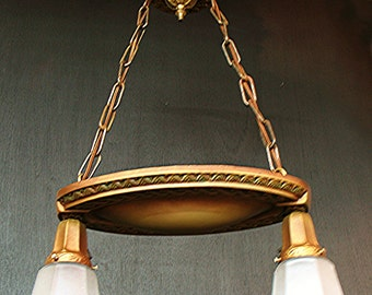 """Antique Lighting: Two Light circa 1915 """"Shower"""" Fixture with Jefferson Glass Shades"""