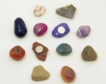 Rock Magnets, Fridge Magnets, Decorative Magnets, Stone Magnets, Unique Magnets, Cute Magnets, Pebble Magnets, Natural Magnets - Set of 12