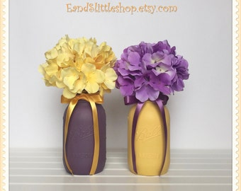 Wedding Decor Centerpiece Set of 2 Yellow Blackberry-Home Decor-Shabby Chic Decor-Painted Mason Jars-Vase Table Centerpiece Decor