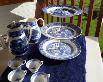 Blue a White Willow Pattern Triple Cake Stand