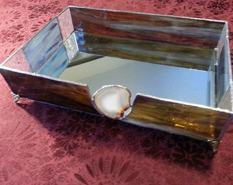 Brown stained glass mirrored tray - with geode sliver