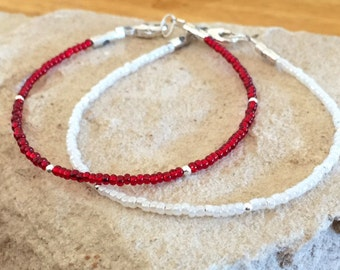 Red and ivory seed bead bracelets, single strand seed bead bracelet, sterling silver bracelet, boho bracelet, small bracelets, gift for her