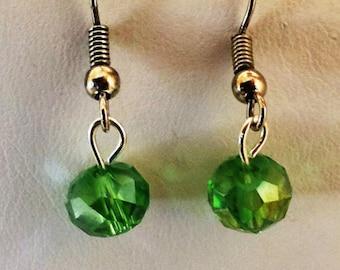 Green Crystal Beaded Pierced Earrings Silver Tone
