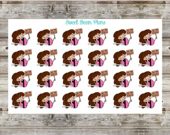 Hand Drawn Doodle Girls- No Mo' Mondays Planner Stickers