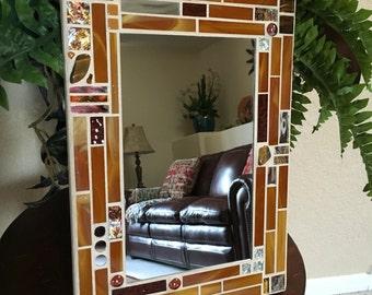 Stained Glass Mosaic Mirror, Mosaic Mirror, Gold Mirror