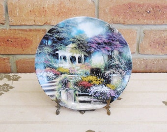 "Porcelain collector plate Egidio Antonaccio ""A Peaceful Retreat""  Enchanted Gardens Collection limited edition"